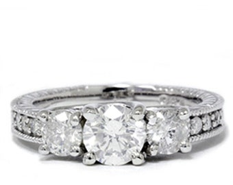 Diamond 1.75CT Vintage Ring 14K White Gold Ring