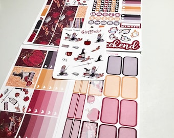 Wizard Kit Red and Gold 4 Piece Mini Planner Sticker Kit + Free Deco Sheet sized for the Erin Condren Planner & Many other planners
