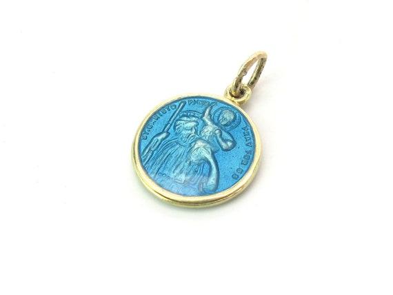 14K Gold Turquoise Enamel Vintage St Christopher Medal Charm