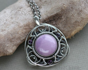 Mandala Pendant - Multi layered Sterling silver with Phosphosiderite and Amethyst - Handcrafted Sacred Jewellery