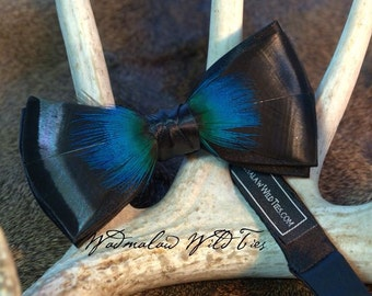 Turkey Feather Bow Tie with Peacock feather overlay - Custom order Only