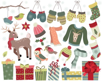 Cute Christmas Clipart - Set of 27 300 DPI PNG & Vector Files - Winter Design Elements and Holiday Clip Art Pack
