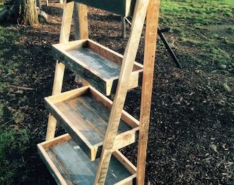 Reclaimed wood ladder shelf