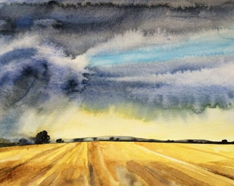 Wheat Field, Storm clouds, rural landscape, Midwest painting, stormy skies, farmland, wheat, Sky painting, countryside, Landscape painting