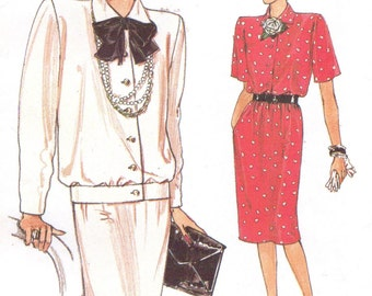 1980s Womens Button Front Top and Skirt Vogue Sewing Pattern 9485 Size 8 10 12 Bust 31 1/2 to 34 UnCut Very Easy Very Vogue Patterns