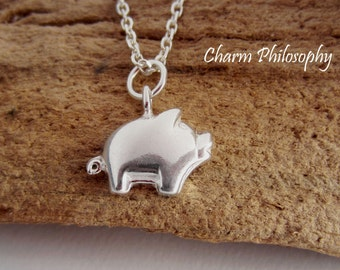Pig Necklace - Very Small Piglet Charm Pendant - 925 Sterling Silver Jewelry