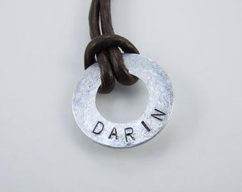Name necklace, Aluminum washer necklace, Personalized washer necklace, Hand stamped necklace