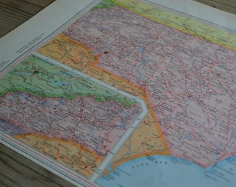 North Carolina State Map Vintage Print