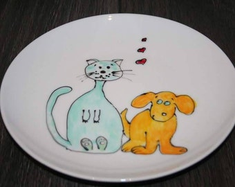 Cat&dog hand painted side plate