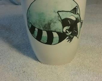 Custom Made Cartoon Sleeping Raccoon Ceramic Mug