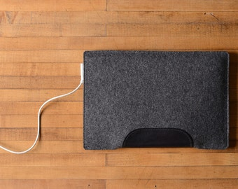 """MacBook Air / MacBook Laptop Sleeve - Charcoal Felt and Black Leather Patch - Short Side Opening for 11"""" or 13"""" MacBook Air or 12"""" MacBook"""
