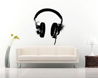 Wall Vinyl Sticker Decals Mural Room Design Pattern Music Melody Headphones bo267