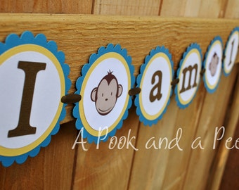 """Blue and Yellow """"I am one"""" Boy Monkey High Chair Banner First Birthday"""