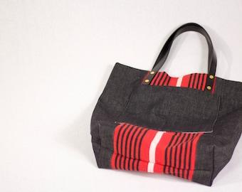 GL Crafts: Upcycled, Handbag, Black, Red, Denim, Handmade