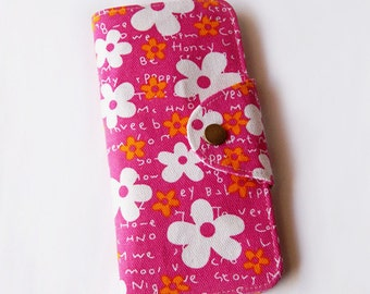 Blossom White Floral in Hot Pink Long Passport Wallet, Boarding Pass Holder, Family Passport Wallet