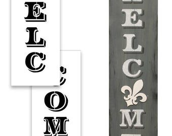 "Welcome - Old Post Vertical - Word Art Stencil - 48"" x 12"" - STCL1944_5"