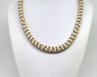 Vintage Estate Single Strand Faux Pearl Golden Beaded Necklace