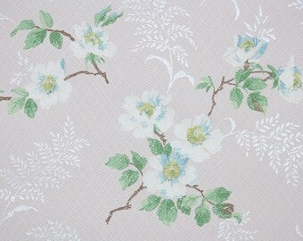 1940s Vintage Wallpaper by the Yard - Floral Wallpaper with White and Blue Flowers on Pale Pink