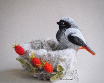 Needle felted bird nest by The Lady Moth - redstart nest - felted rose hips - egg nest - fibre sculpture - UK