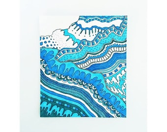Abstract Blue Mountain and Stream Print