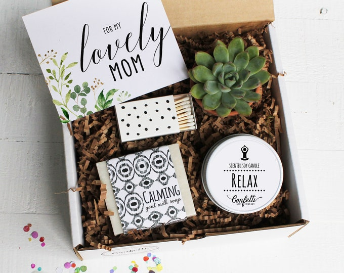 For My Lovely Mom Gift Box -  Mother's Day Gift Box | Spa Gift Box | Gift For Mom | Succulent Gift Set | Candle Gift Set | Soap Gift Set