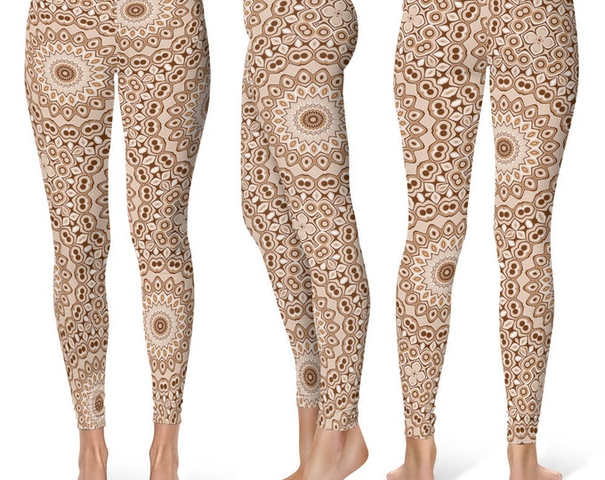 Brown Leggings, Stretchy Yoga Pants, Fashion Leggings, Brown and White Mandala Pattern Printed Tights