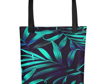 Tropical Jungle Plant Leaves Design All-Over Print Tote Bag