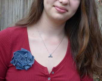 Denim flower pin brooch hand sewn from vintage jeans