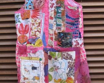my bonny PINK PIZAZZ POPSICLE - Wearable Fabric Collage Folk Art Tunic Dress -  Patchwork Crazy Quilt