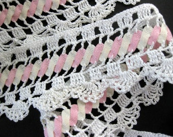 """Gorgeous, Unusual Vintage Cotton Lace Trim with Pink and White Rick Rack, 2"""" Wide, 84"""" Length"""