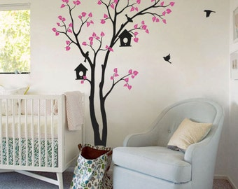 """Large Tree Wall Decal Baby Nursery Wall Decals Birds Birdhouse Cute Wall Mural Sticker Art - Large: approx 82"""" x 55"""" - KC002"""