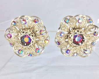 Sparkly Vintage 1950's Filigree and Rhinestone Rosette Style Clip On Earrings ..Signed: Sarah Cov  Original Vintage Fifties 50's