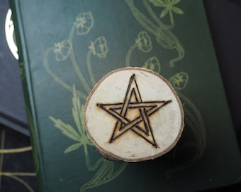 Silver Birch Wood Pentagram Altar Piece/Amulet - Pagan, Wicca, Witchcraft, Pentacle