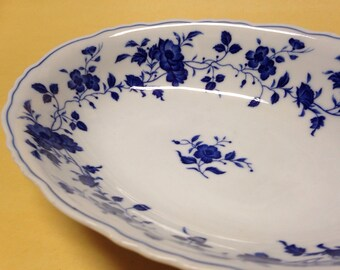 Royal Meissen China floral blue serving bowl fine china vintage japan 10 x 7 inches