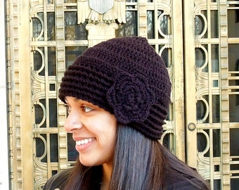 Crochet Hat, Beanie, Cloche, Flower, Adult, Women, Teen, Black, Ready To Ship,,
