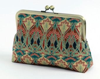 Cosmetic bag, Art Nouveau, Ikat, Liberty of London Print clutch,Makeup bag, Geometric clutch, Party clutch, Formal purse, Brides