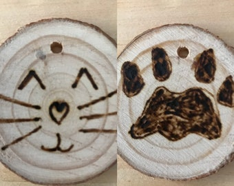 Cat and Paw two-sided ornament.