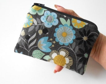 Small Coin Purse Little Zipper Pouch ECO Friendly Padded Little Zipper Pouch Bohemia Floral
