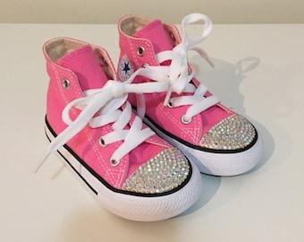 Pink Rhinestone Converse Shoes