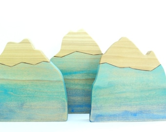 wooden mountain, waldorf nature table, wooden home decor, wooden mountain toy, wooden toys, waldorf toys