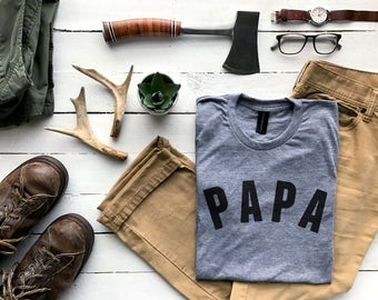 Papa T-shirt • Unique Shirt for Modern Fathers •Typographic PAPA Design • Super Soft Papa Tee • Gift for Dads Father's Day • FREE SHIPPING