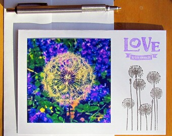 Love You Much Card, Dandelions, Anniversary Card, Love Card, Nature Photo Card, Photo Card, Flower Card, Handmade Card, Cards for Her, Love
