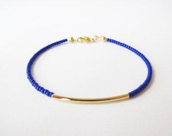 Gold bar beaded bracelet - friendship bracelet - Blue