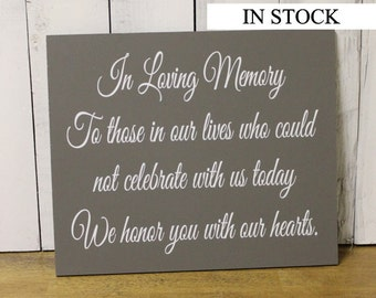In Loving Memory/Memorial Sign/U Choose Colors/Great Shower Gift/Gray/White/Wood Sign/Hand Painted