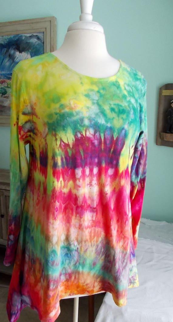 Hanky-hem tunic Ice dye tie dye Women's  Long Sleeve Cotton Shirt