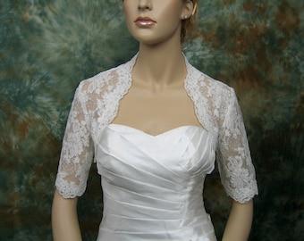 Lace bolero wedding jacket elbow length sleeve bridal alencon lace wedding bolero jacket - available in ivory and white