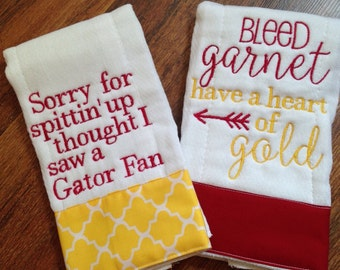 Florida State burp cloths, two burp cloths, florida state baby