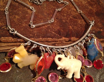 Animal Charm Assemblage Choker Necklace