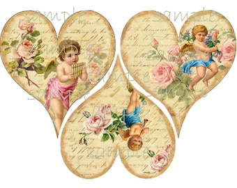 INSTANT DOWNLOAD  Heart of an Angel - 3 Inches -  Digital Download - Printable  Digital Collage Sheet