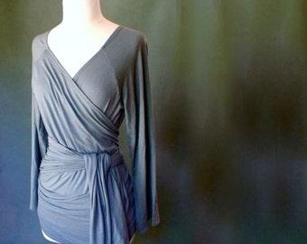 Organic knit jersey wrap shirt , wrap around tunic top, organic women's clothing
